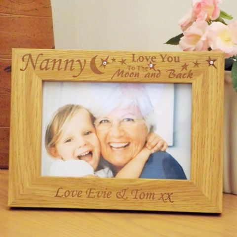 Personalised 'Love You To The Moon & Back' Photo Frame, Swarovski Crystals